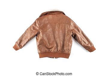 Kid's leather jacket isolated on white
