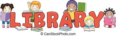 Kids Library Lettering Illustration