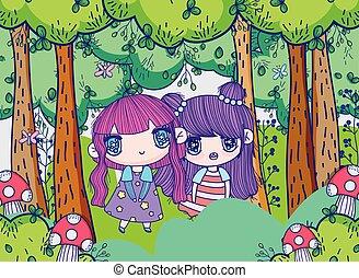 kids, little girls anime cartoon forest meadow trees mushrooms vector illustration