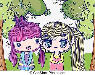 kids, little girls anime cartoon in the forest trees grass vector illustration