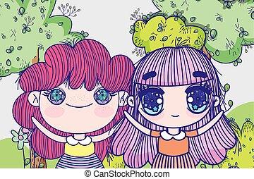 kids, little girls anime cartoon park landscape trees grass vector illustration
