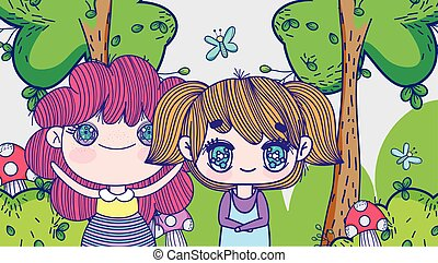 kids, little girls anime cartoon tree forest mushrooms meadow vector illustration