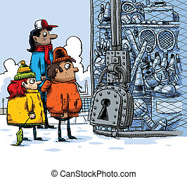 Kids Locked Out - Cartoon kids find that the winter sports...
