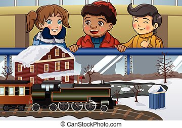 A vector illustration of happy kids looking at miniature train