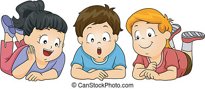 Kids Looking Down - Illustration of Kids Looking Down