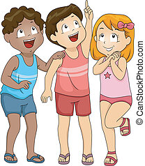 Kids Looking Up - Illustration of Kids in Beachwear Looking...