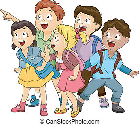 Kids Looking Up - Illustration of a Group of Kids Looking...
