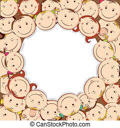 Kids Looking Upward - illustration of group of kid looking...