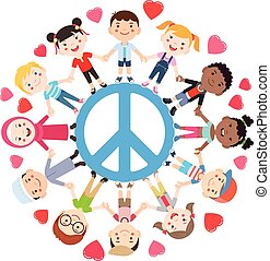 Kids love peace conceptual. Groups of children join hands all around the peace symbol. Vector illustration.