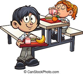 Kids lunch - School boy and girl in uniform having lunch ...