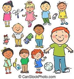 kids., mão, desenhado, clip-art.