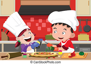 Kids making pizza in the kitchen - A vector illustration of ...
