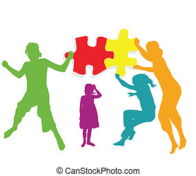 Kids making together colorful jigsaw puzzle teamwork vector