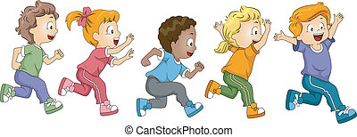 Kids Marathon - Illustration of Kids Participating in a...