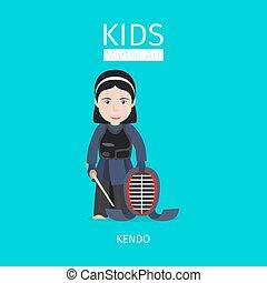 Kids martial art. Kendo girl - Kids martial art vector...