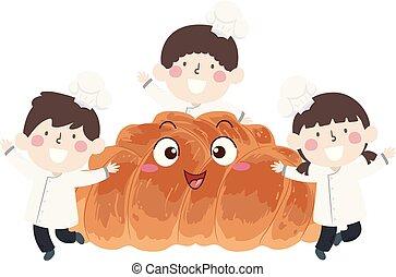 Kids Mascot Challah Braided Bread Illustration