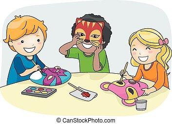 Illustration of Kids Making Colorful Party Masks