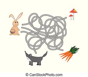 Kids maze. Help rabbit to find a way out