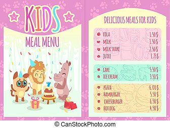 Kids meal menu with animal characters. Food and animal, lion and hippo, event birthday, cola and cheeseburger, pizza and hamburger. Vector illustration template brochure