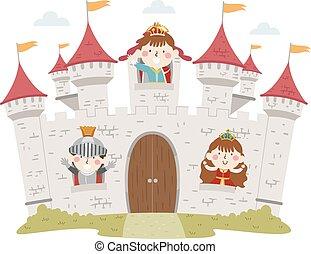 Kids Medieval Castle Windows Illustration