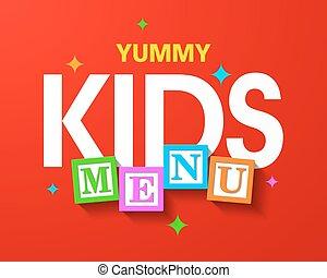 Kids Menu bright cover template