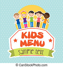 kids menu over dotted background vector illutration