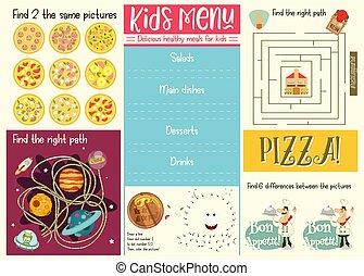 Vector Cartoon Style Design For Kids Menu Children Menu Meal