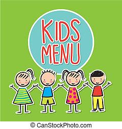 kids menu over green background vector illustration