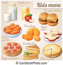 Kids menu. Set of cartoon vector food icons