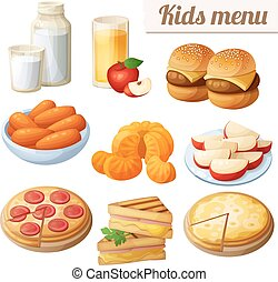 Kids menu. Set of cartoon vector food icons isolated on white background