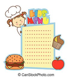 kids menu. space for text.  - kids menu. space for text.