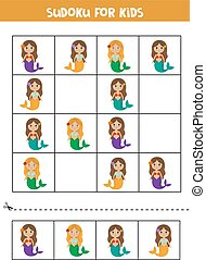 kids., mermaids., sudoku, opgave, cute