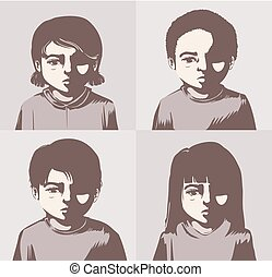 Kids Miserable Concept Illustration