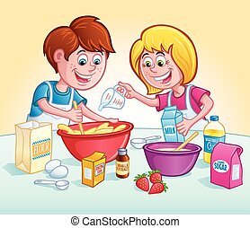 Kids Mixing Up A Recipe
