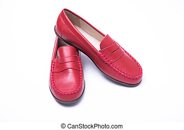Kids moccasins on a white background