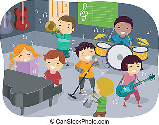 Stickman Illustration Featuring Kids Playing with Different Musical Instruments in a Music Room