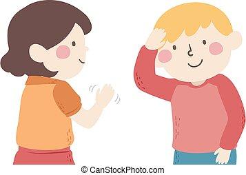 Kids Mute Talking Greeting Hello Illustration