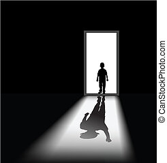 to illustrate a nightmare of kid, the shadow of himself is waving at him.