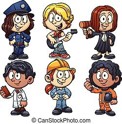 Kids occupations - Kids using costumes for different...