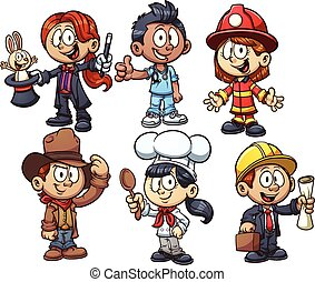 Kids occupations - Kids using costumes from different...