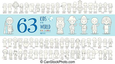 Kids of the World Vector Characters Collection Part 1: Set of 63 children of different nationalities for coloring in cartoon style.