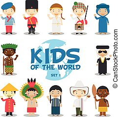 Kids of the world vector illustration: Nationalities Set 1. Set of 12 characters dressed in different national costumes