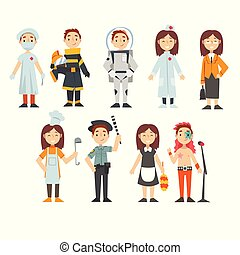Kids of Various Professions Set, Doctor, Firefighter, Astronaut, Businesswoman, Chef Cook, Police Officer, Maid, Singer, Kids Dreaming of Future Profession Vector Illustration