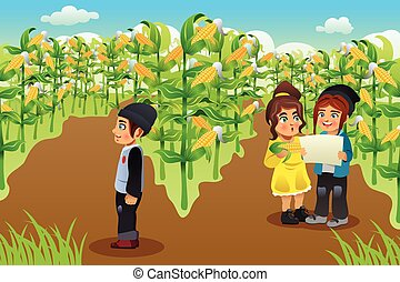 Kids on a Corn Field