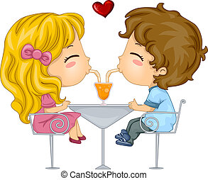Kids on a Date - Illustration of Kids Sharing a Drink