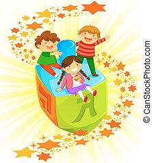 kids on a dreidel - happy kids riding a big dreidel on...