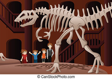 Kids on a field trip to a museum - A vector illustration of...