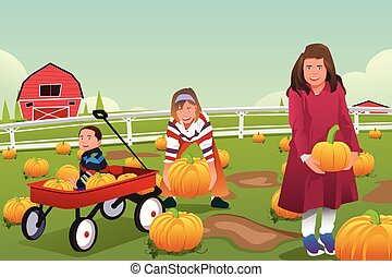 Kids on a Pumpkin Patch Trip