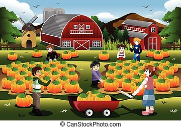 Kids on a Pumpkin Patch Trip in Autumn or Fall Season