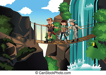 Kids on an adventure trip - A vector illustration of happy...